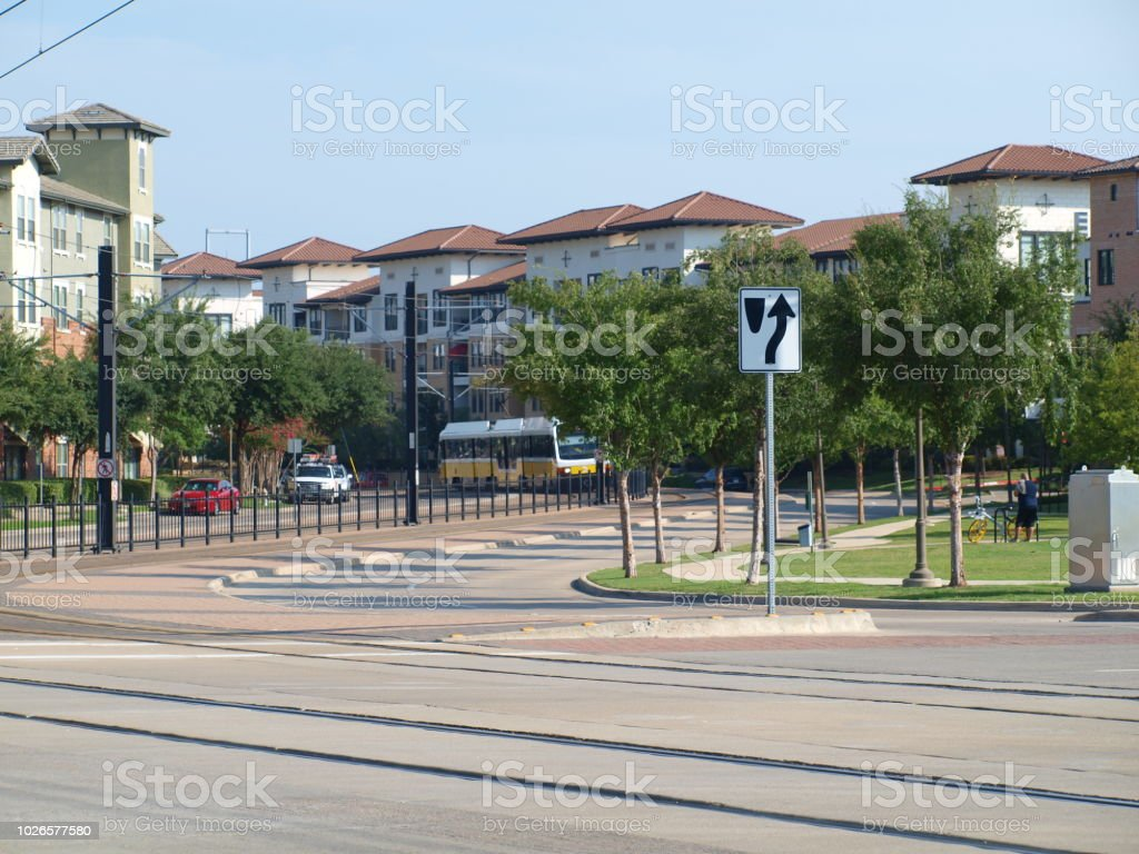 Light Rail Line Winds Through Residential Section of Las Colinas stock photo