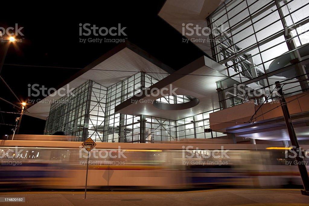 Light rail train and convention center downtown Denver Colorado stock photo