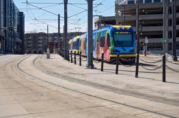 Light Rail Train Bound for Saint Paul stock photo