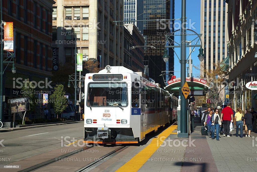 RTD Light Rail train in Downtown Denver royalty-free stock photo