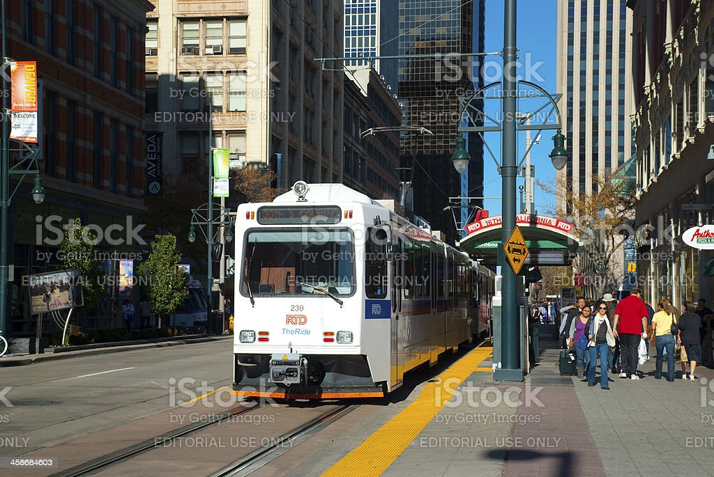 RTD Light Rail train in Downtown Denver stock photo