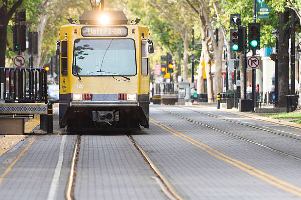 Light rail train on K Street Sacramento stock photo