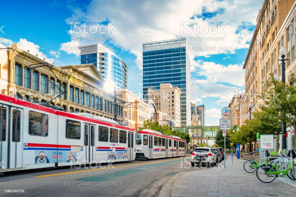 Light rail tram in downtown Salt Lake City Utah USA stock photo