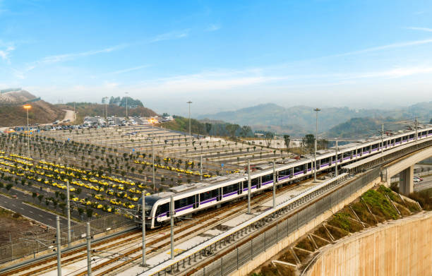Light rail viaduct at high speed, taxi station at Chongqing airport stock photo