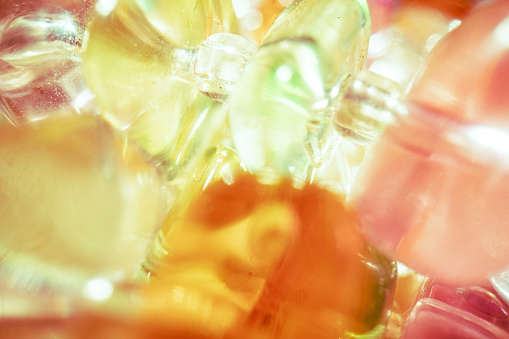 Transparent crystals portrayed from an extremely close distance.