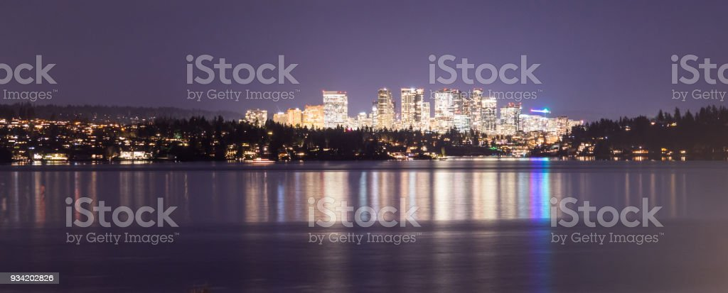 Light Reflection Water Bellevue Washington Downtown City Skyline stock photo