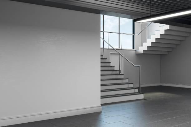 Light school hallway interior with copyspace stock photo