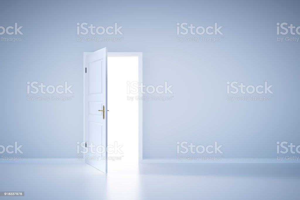Light shining from open door. Entrance stock photo