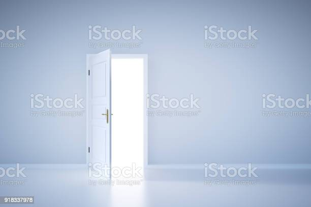 Light Shining From Open Door Entrance Stock Photo - Download Image Now