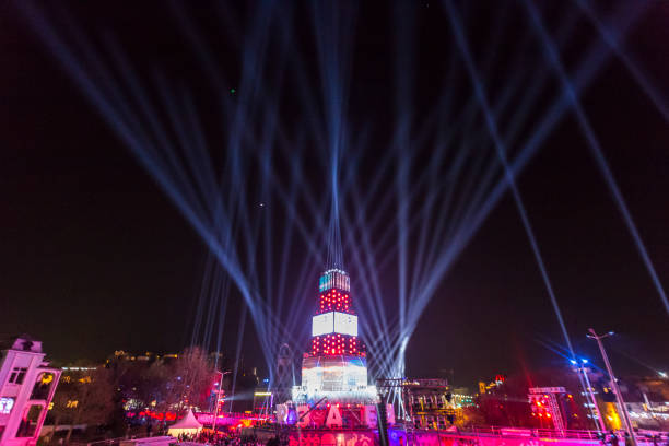 3D light show for the Plovdiv 2019 - European Capital of Culture stock photo