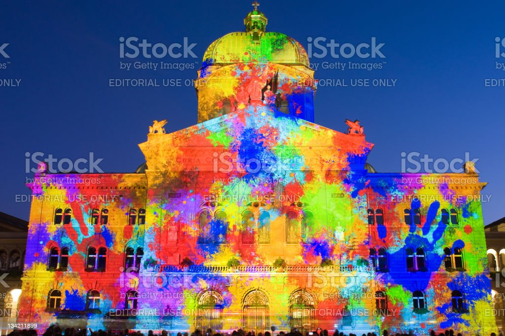 Light show on Swiss government building royalty-free stock photo