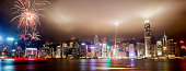 Panorama view of Hong Kong skyline with lasers, floodlights and fireworks illuminating the night skies on Victoria Harbor. Viewed from downtown Tsim Sha Tsui on Hong Kong Island.