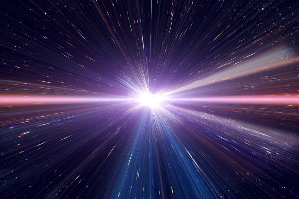 light speed travel time warp traveling in outer space galaxy. - distorted image stock pictures, royalty-free photos & images