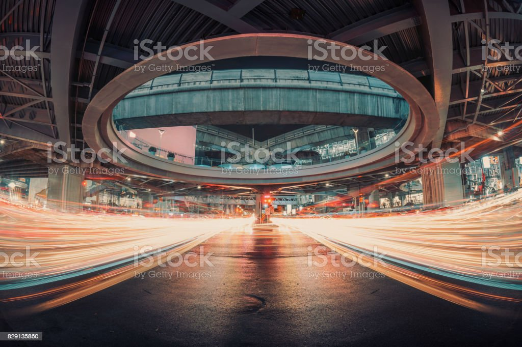 light streams from intersection traffic,connection and technology concept stock photo