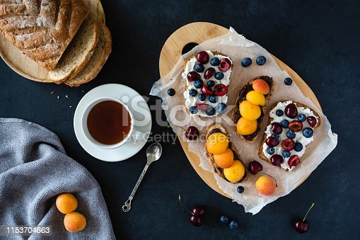 istock Light summer breakfast or lunch with sandwiches of wholegrain bread with chocolate paste, ricotta cheese, apricots and sweet cherry on the background of the dark village table 1153704663