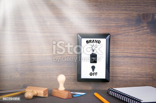 657955676 istock photo light switch is switched from off to brand. business opportunities and success concept 892394956