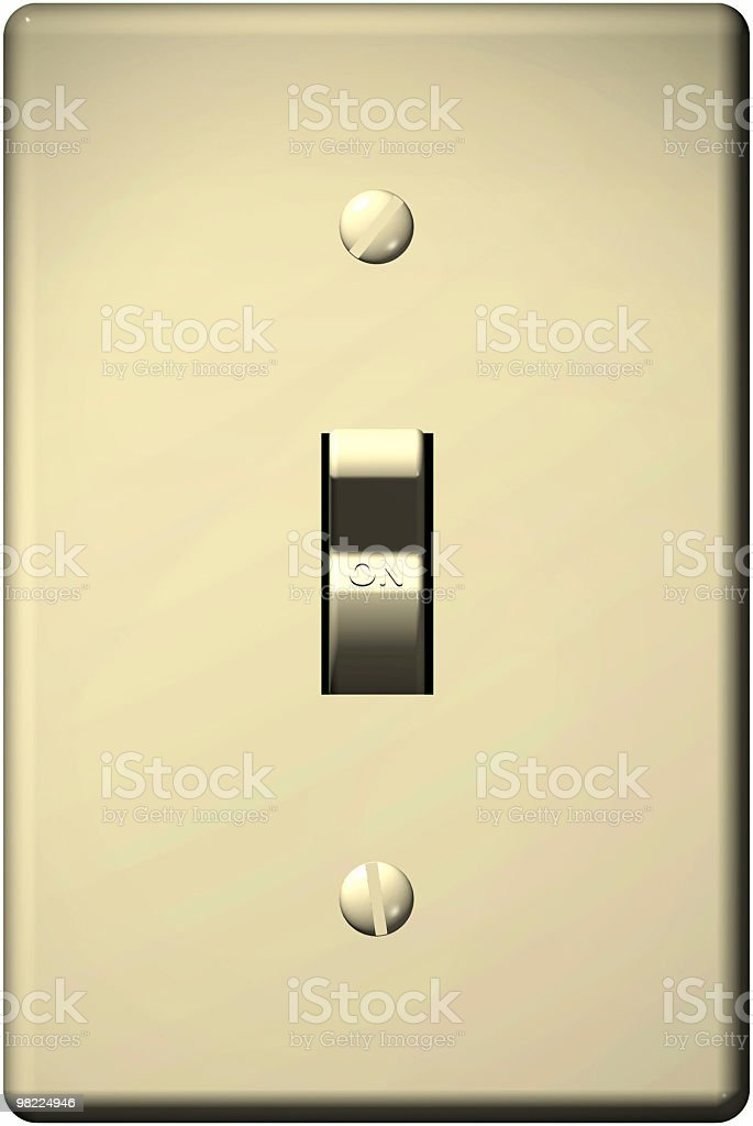 Light Switch, On (3D, Clipping Path) stock photo