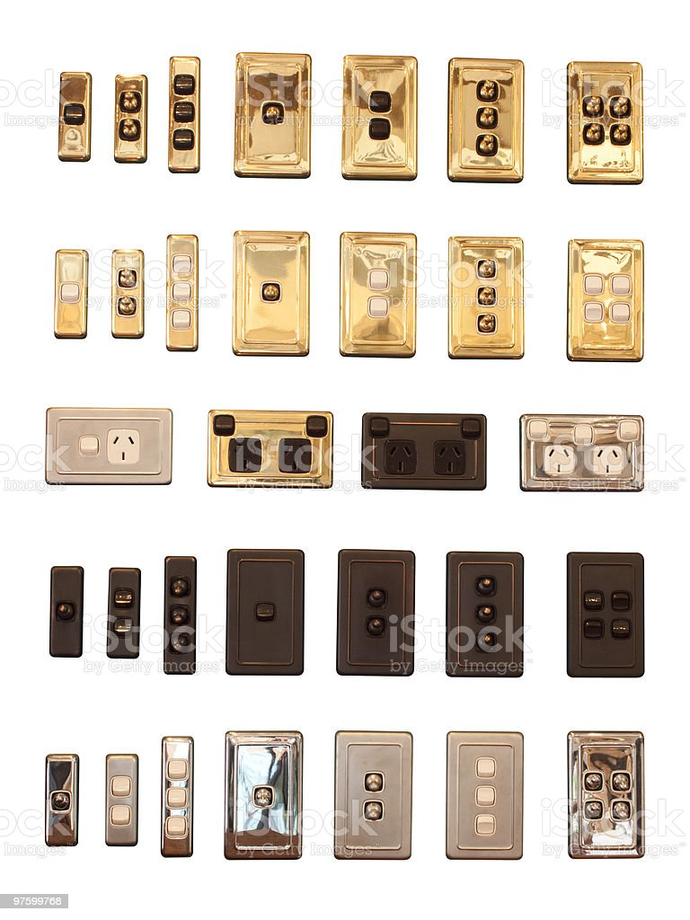 Light switches display collection isolated on white background stock photo