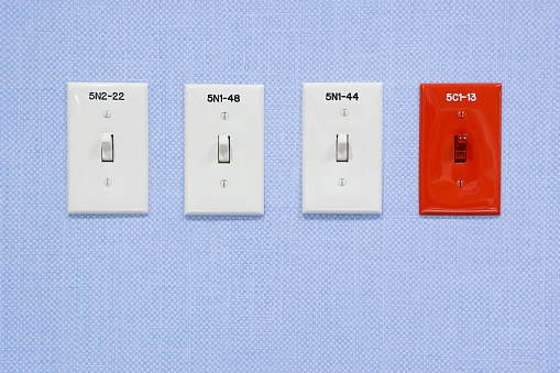 Light switches in a hospital