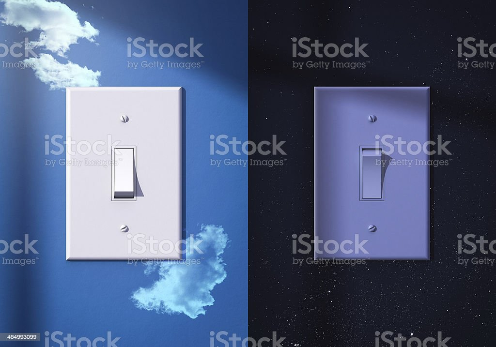 light switches turned on off stock photo
