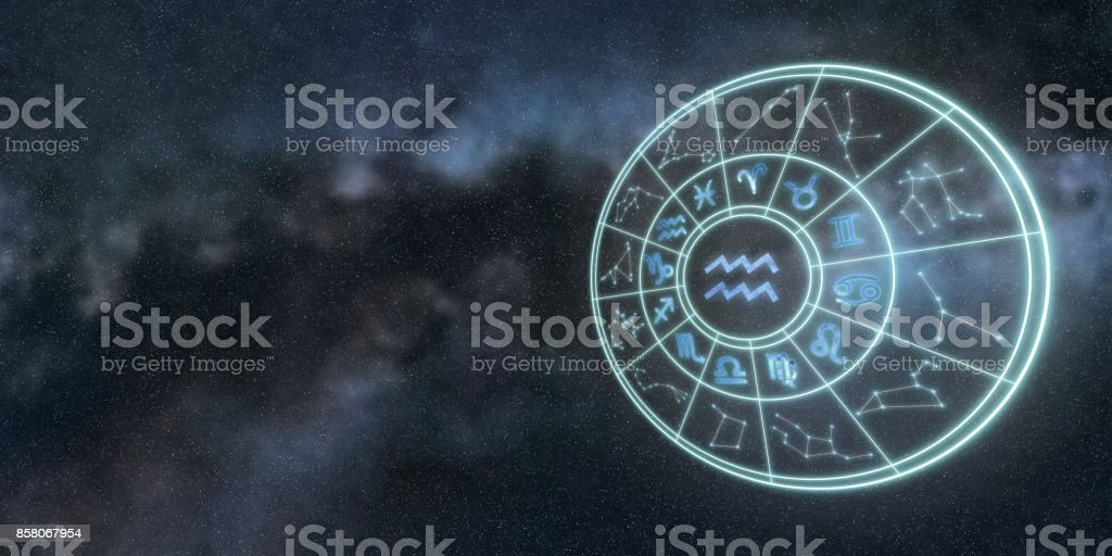 Light symbols of zodiac and horoscope circle, Aquarius Zodiac Sign stock photo