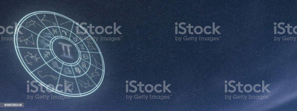 Light symbols of zodiac and horoscope circle, Gemini Zodiac Sign stock photo