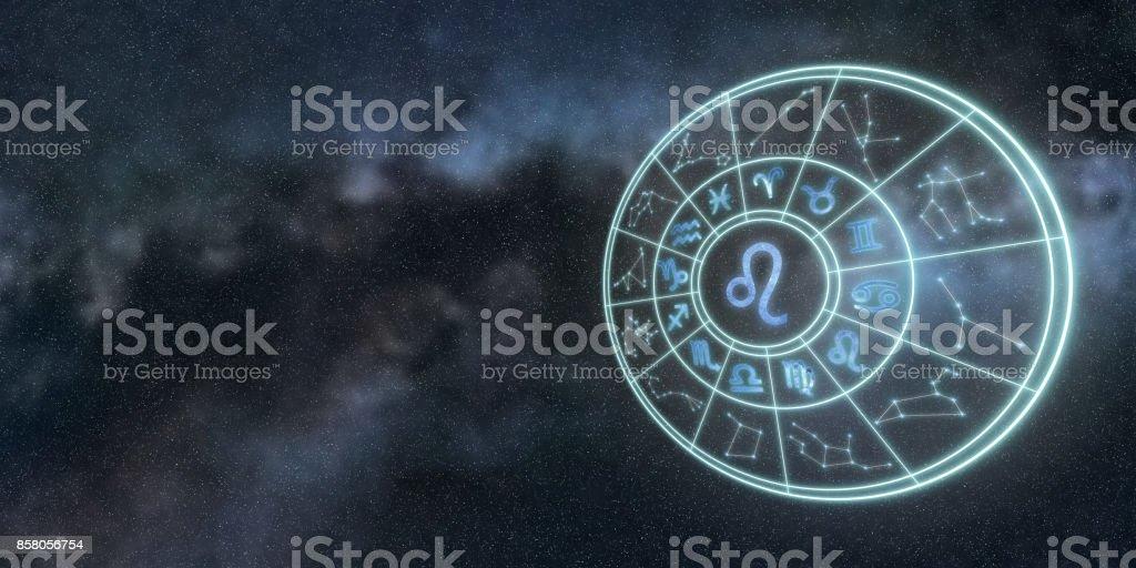 Leichte Symbole der Tierkreiszeichen und Horoskop Kreis, Leo Sternzeichen – Foto