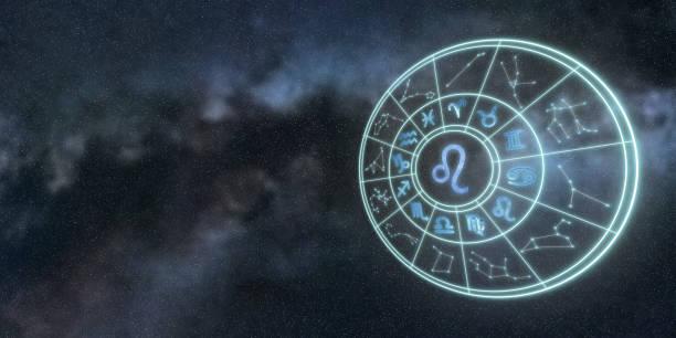 Burç ve Astroloji daire, Leo Zodyak işareti ışık sembolleri stok fotoğrafı