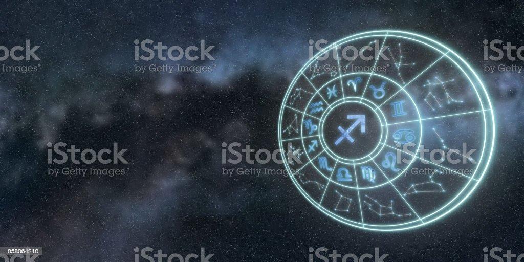 Leichte Symbole der Tierkreiszeichen und Horoskop Kreis, Sternzeichen Schütze – Foto
