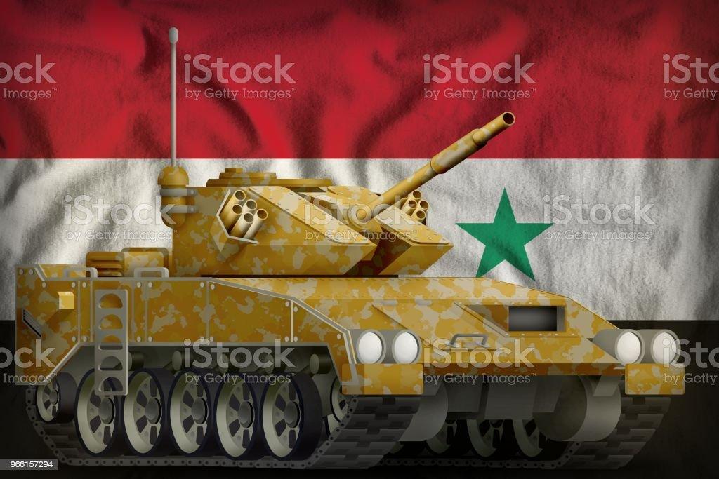 tanque ligero apc con camuflaje de desierto en el fondo de la bandera nacional de República Árabe Siria. Ilustración 3D - Foto de stock de Amarillo - Color libre de derechos