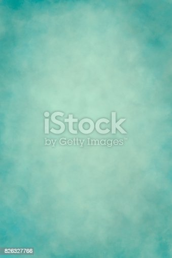 Light teal-verdigris blue hand painted photography backdrop. Soft sponge effect. It can be used as a portrait background.