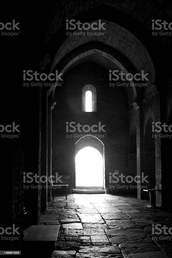 Light through church door stock photo