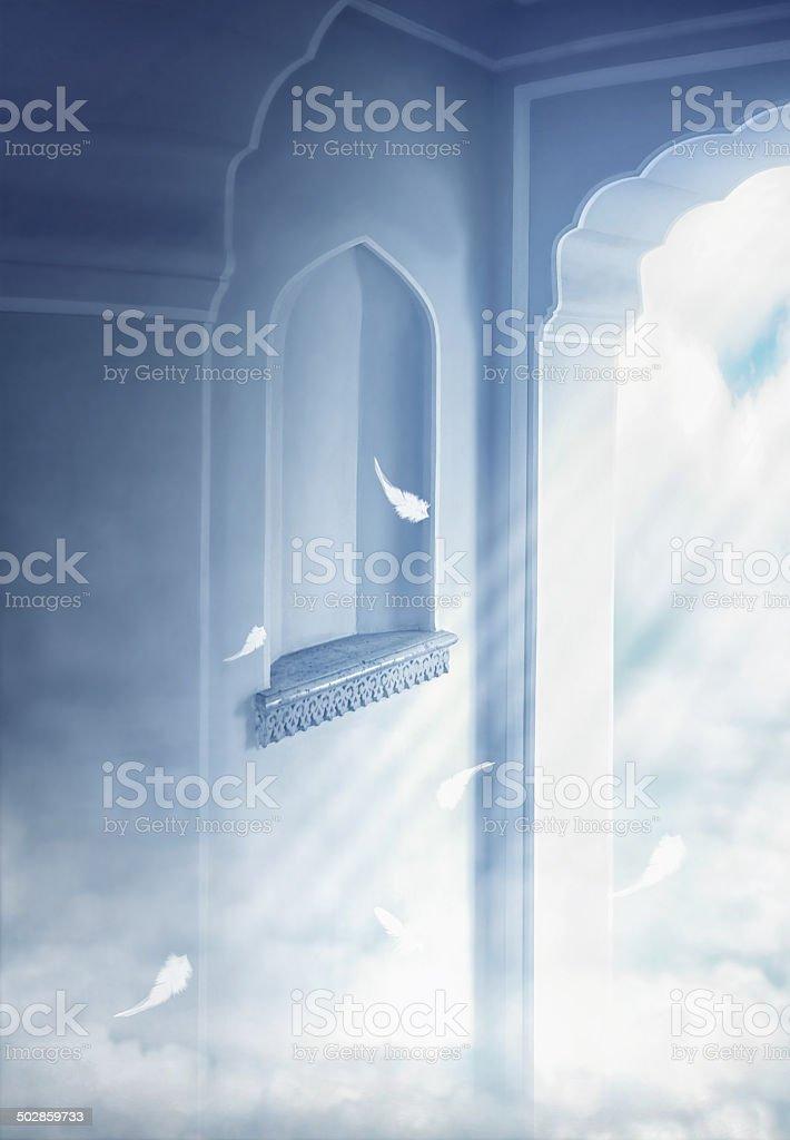 Light through doorway stock photo