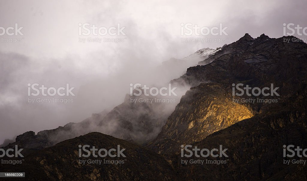 Light touch top of cloudy mountain royalty-free stock photo