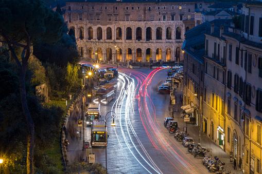 light trail in rome