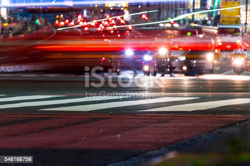 istock Light trail of cars 546166756