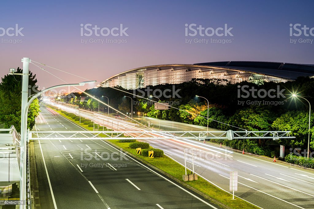 Light trail of the cars stock photo