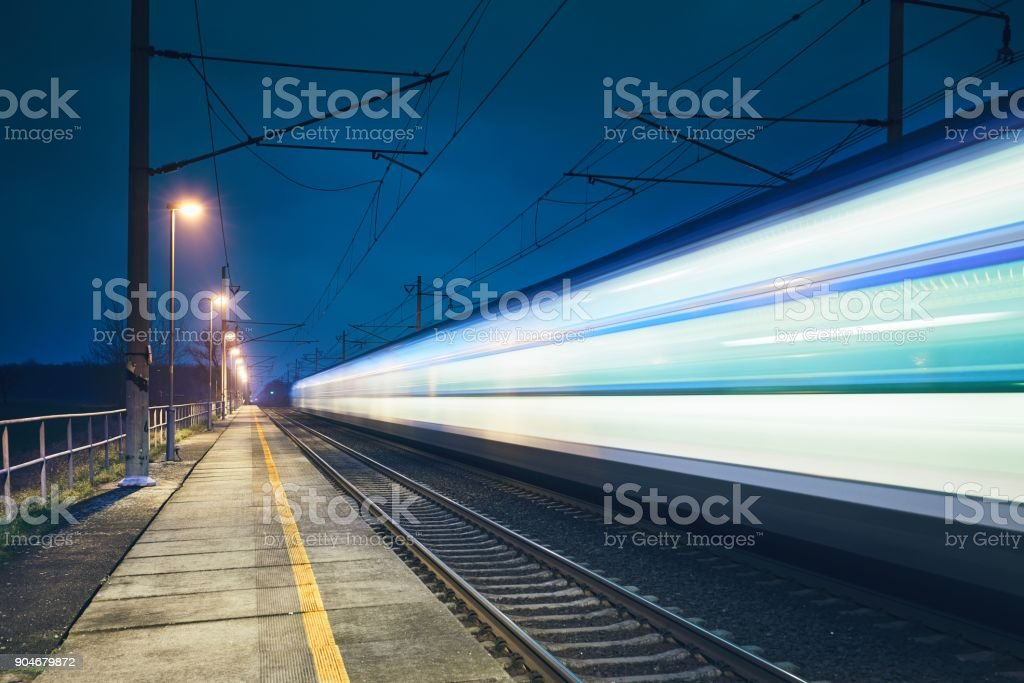 Light trail of the train stock photo