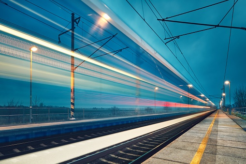 Light Trail Of The Train Stock Photo - Download Image Now