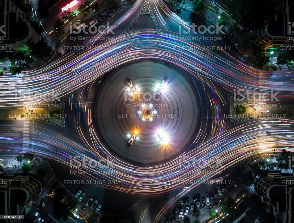 Light Trail on the Democracy Monument in Thailand form aerial photography top view, look like colorful eye stock photo