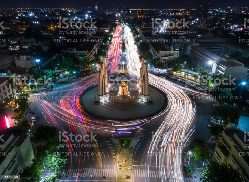Light Trail on the Democracy Monument in Thailand form aerial photography top view stock photo