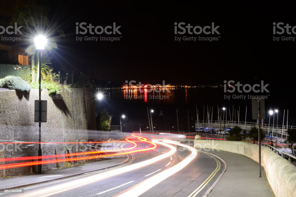 Light Trails and City Lights royalty-free stock photo