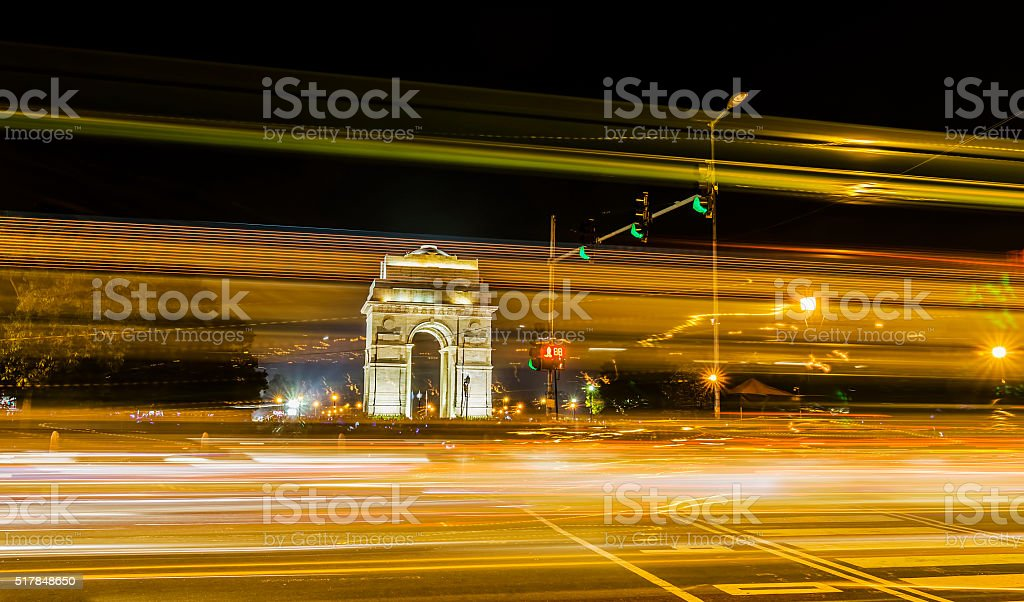 Light trails and Gateway of India in background stock photo