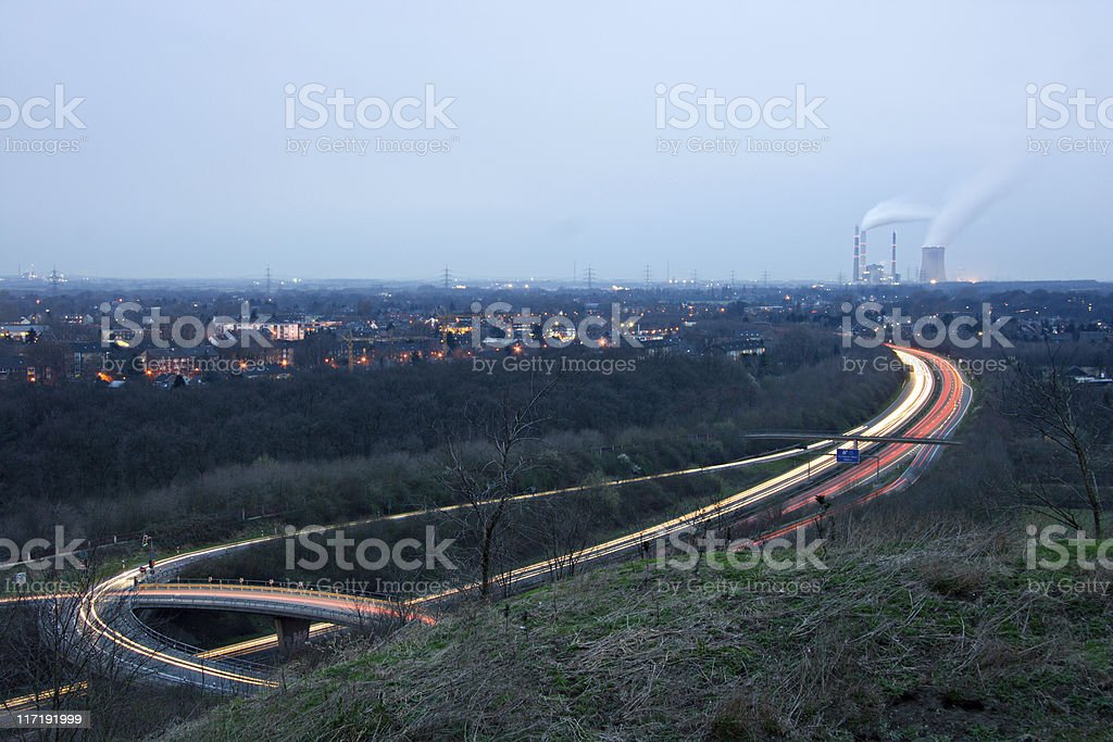 Light Trails And Power Station royalty-free stock photo