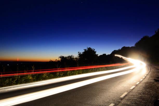 Light Trails at Dusk stock photo