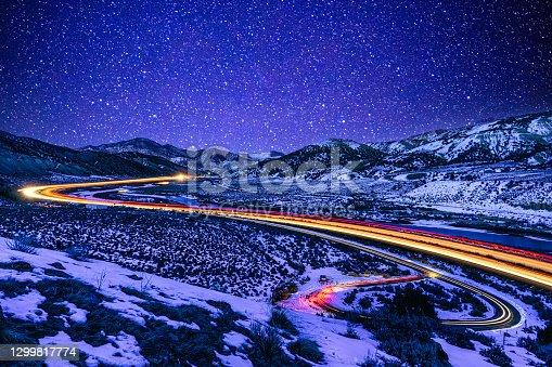 istock Light Trails at Night I70 Colorado 1299817774