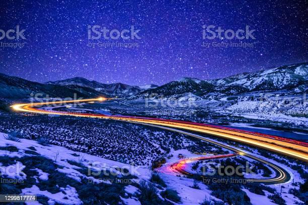 Photo of Light Trails at Night I70 Colorado