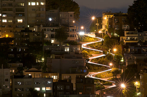Light Trails Down Lombard Street in San Francisco stock photo