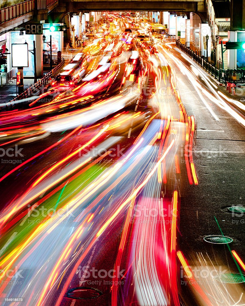 Light Trails from Traffic, Bangkok stock photo