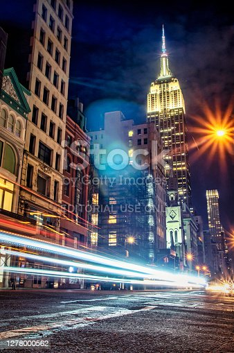 New York City, USA - October 8, 2017: car Light trails in 5th Avenue at night